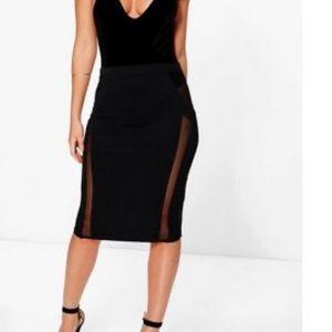 Black mesh insert skirt